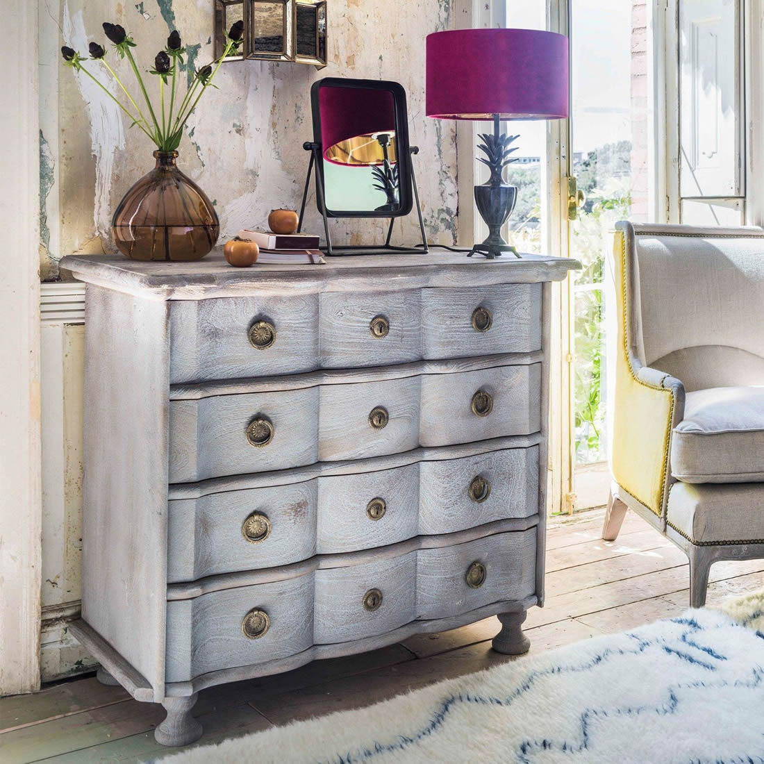Sand Blasted Jean Paul Chest of Drawers - Graham and Green