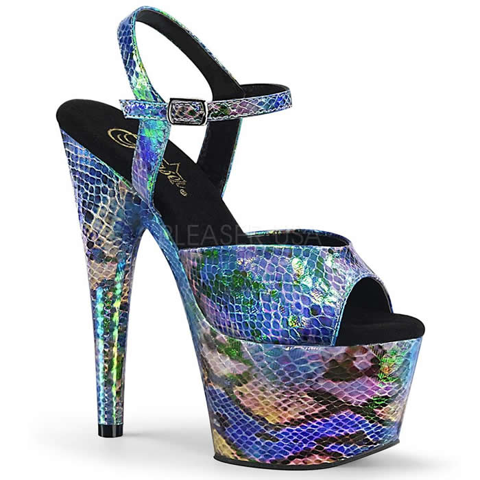 Adore Blue Snake Skin Platforms - Banana Shoes