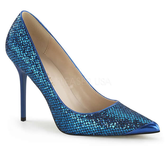 Classique Navy Blue Glitter Pointed Stilettos - Banana Shoes