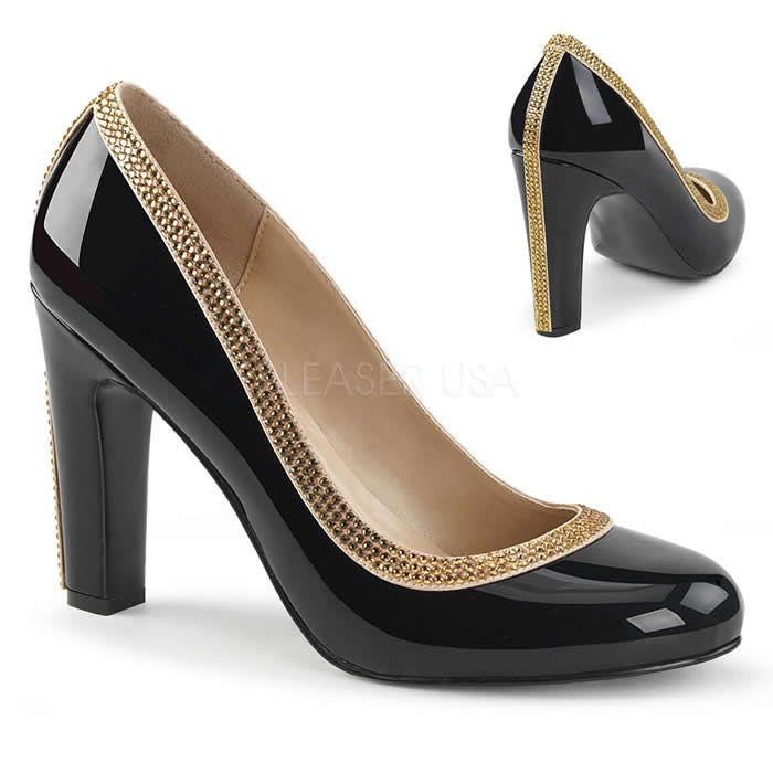 Queen Black Patent and Rhinestone Heels - Banana Shoes