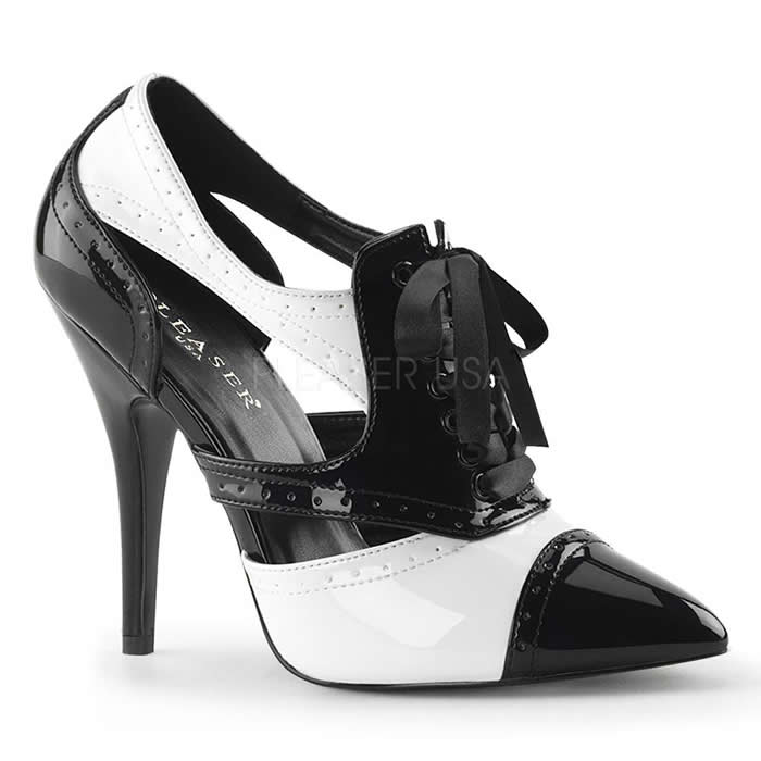 Seduce Black and White Cut Out Spectator Heels - Banana Shoes