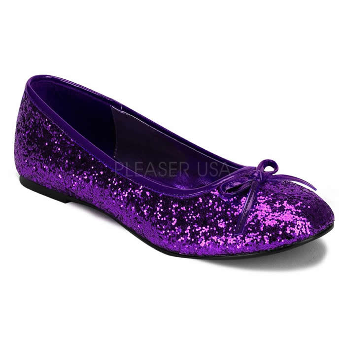 Star Purple Glitter Ballet Flats - Banana Shoes
